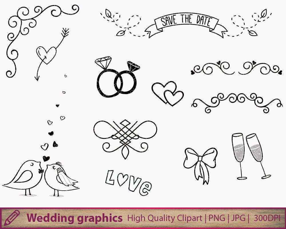 Clipart For Wedding Invitations Free: Wedding Invitation Clipart , Cute Handdrawn Doodle Clip