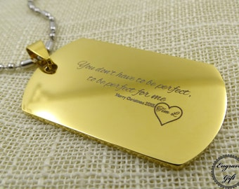 Personalized Engrave with Stainless Steel Dog Tag necklace, keychain, in poetry, love note, your Motto, gift for him , gift for her