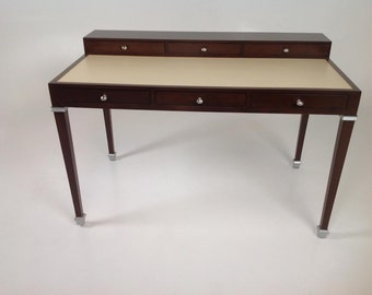 Modern deco style leather parchment mahogany desk