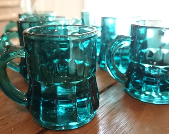 Vintage Federal Glass Mini Mug Shot Glasses/ Six blue glasses/ Shot Glasses/ Ultramarine Blue