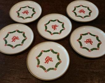 Vintage Otagiri Christmas Coasters/ Set of 6 coasters/ Candy Cane Motif/ Melamine