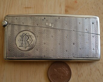 Antique Victorian HM 1898 solid  silver card case curved Very good condition