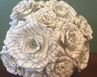 Book Page Bouquet, Book Paper Roses, Book Page Roses, Book Page Flowers, Paper flowers, Wedding Decor, Bride, Flowers, Roses, Vintage, Rusti
