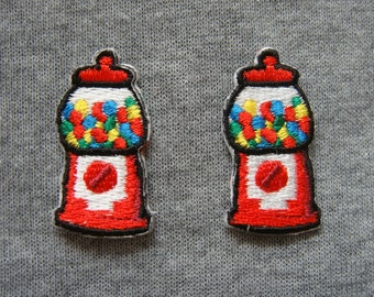 Set of 2 pcs Bubble Gum Vending Machine Appliques Embroidered Patch Iron On