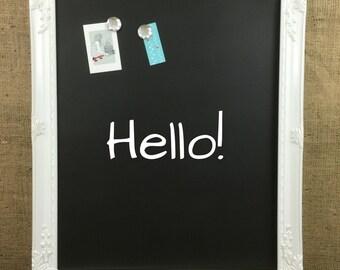 MAGNETIC CHALKBOARD // WHiTE Ornate Framed WEDDiNG Sign // Magnet Board // Memo Board // Bulletin Board // Message Board // Blackboard
