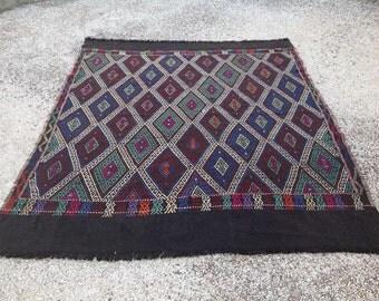 """5'11"""" x 5'1""""  Embroidered diamond design Kilim rug, Vintage Turkish kilim rug, kilim rug, kelim rug, vintage rug, carpet, geometric rug, 165"""
