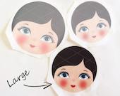 Babushka Matryoshka Cloth Face, Fabric Face, Doll making supplies, Large