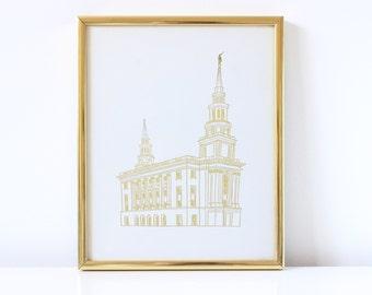 Philadelphia Temple - Hand Drawn - REAL FOIL - Gold Foil Print - LDS - Illustration - Pennsylvania - Mormon - Print - Temple - Philadelphia