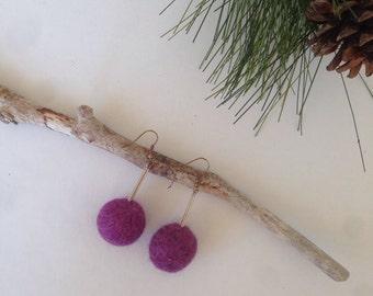 Purple wool earrings, felt earrings, wool earrings, lavender felt boho jewelry, felted earrings, gift for her