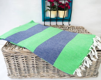 Overstock Sale !Green and Navy Striped Turkish Towel,Green and Navy Cotton Towel,Green  & Navy Peshtemal,Green Stireped Beach Towel