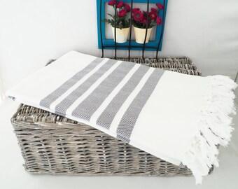 Gray Herringbone Turkish Towel,Gray Herringbone Beach Blanket,Beach Blanket,Beach Cover up,Mothers Day Gift,Gray Beach Towel
