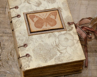 Romantic Mini Journal, Handbound Journal, Butterfly Diary, Notebook