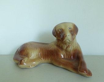 Vintage 60s Dog Statue, Ceramic Dog, Golden Retriever Statue, Dog Laying Down, Brown Dog Figure, 1960s Brown Dog, Puppy Figurine, Doggie