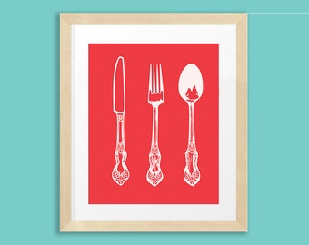 Antique Cutlery, Kitchen Print, 8x10, Red, Knife, Fork, Spoon, INSTANT DOWNLOAD