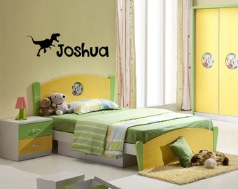 Personalised T-Rex Dinosaur Wall Decal Sticker for Kids Bedroom Wall