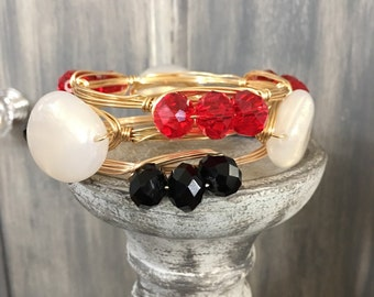 SET of THREE BANGLES Red Black Pearl Wrapped in Gold Wire