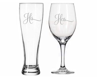 His Pilsner Beer Glass and Her Wine Glass Set of 2