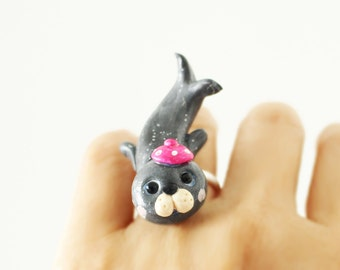 Sea lion ring - Polymer clay miniature - Wearable art