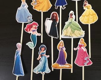 Disney Princess Cupcake Toppers (12), Princess Birthday, Princess Party, Cinderella, Jasmine, Ariel, Tiana