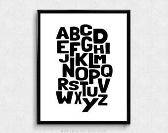 SALE -  Alphabet Typography, Baby Nursery, Modern Typography, Black White, Contemporary, Kid Playroom, Dorm, School Classroom Poster