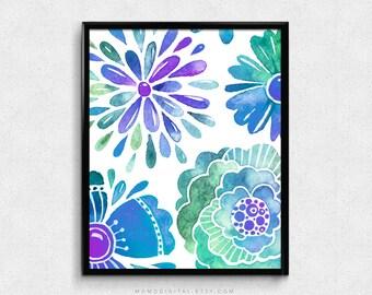 SALE -  Purple Blue Green Flowers, Vibrant Bright Color, Botanical Plant, Watercolor Painting, Floral Collage, Baby Nursery, Dorm