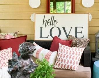 Hello Love Handpainted 2x4 Wood Sign