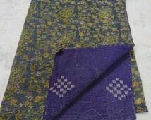 Handmade Kantha Quilt vintage Bedspreads Blanket Throw stitched Gudar 1704 BY artisanofrajasthan