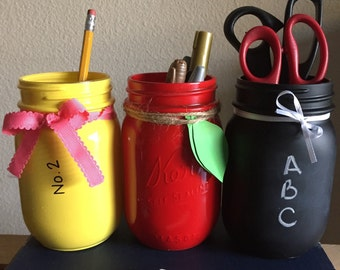 Painted mason jar set/ teacher gift/ chalkboard mason jar/ apple mason jar/ pencil mason jar/ easter gift/ end of the year gift