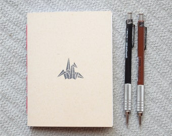 Origami crane Small blank kraft notebook