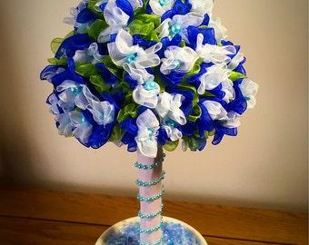 Organza ribbon, hand crafted bonsai tree, all hand sewn.