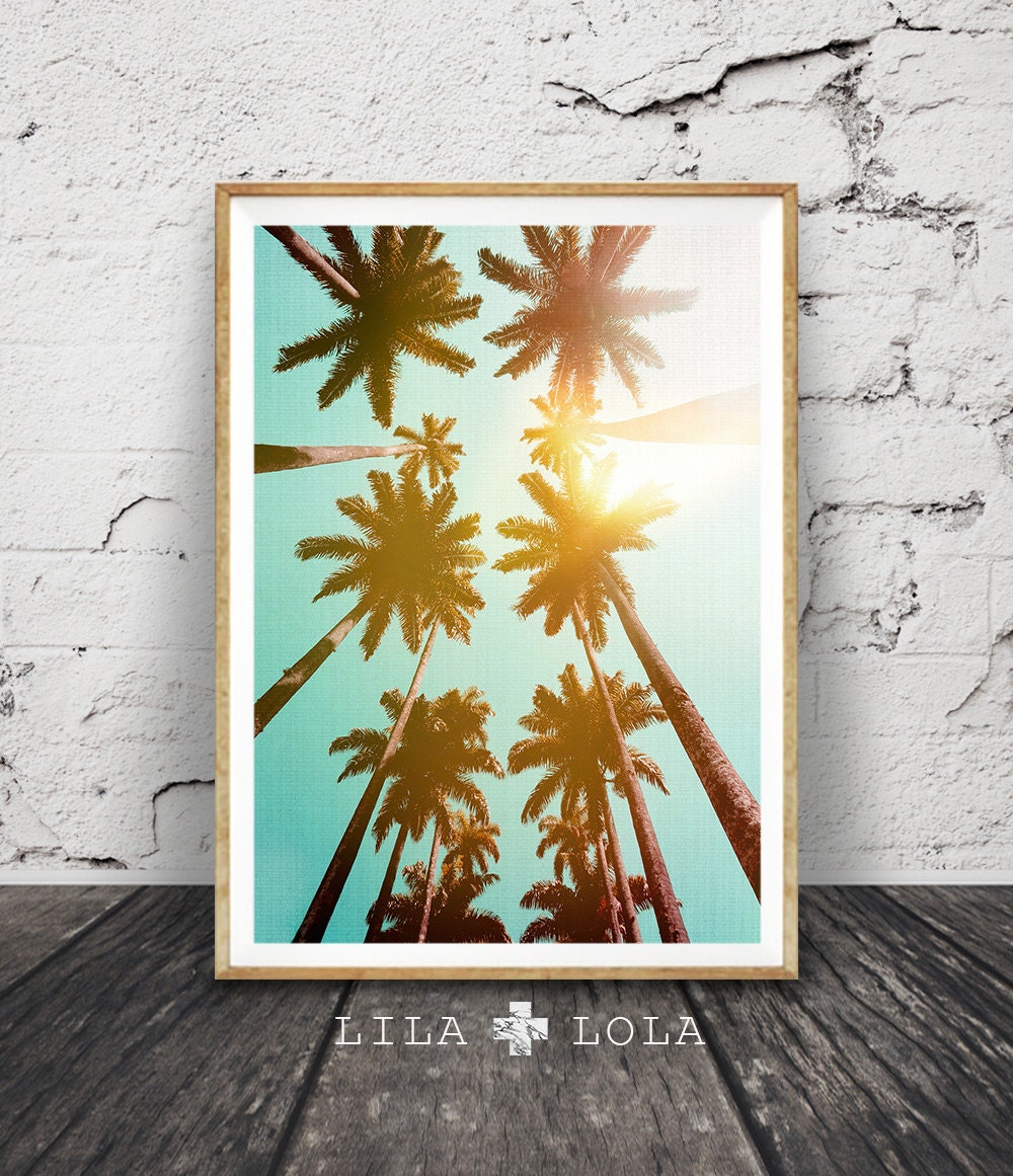 palm trees print tropical wall art decor large printable. Black Bedroom Furniture Sets. Home Design Ideas