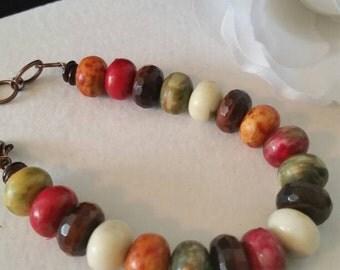 Genuine Tiger Eye, bracelet, organic beads, ethnic, African, handmade, brown, multi-colored, jewelry, copper, vintage, tiger eye