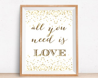 """Instant download Print """"All you need is love"""" home decor/ wall art quotes/ digital print/ inspirational quote/ girl room decor"""