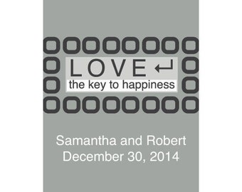 LOVE - The Key to Happiness Stickers Pewter Grey (24)