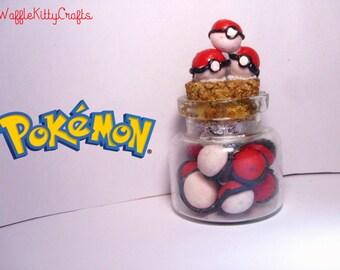Polymer Clay Poke balls in a jar POKEMON