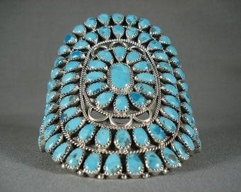 Stupendous Vintage Navajo Sky Blue Turquoise Silver Bracelet