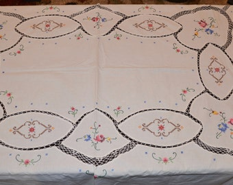 Vintage 63 in. x 81 in Cutwork Embroidered Cotton Tablecloth, Vintage Tablecloth
