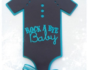 Rock a bye baby onesie centerpiece , baby shower , birthday decor , teal , houndstooth , boys rock theme