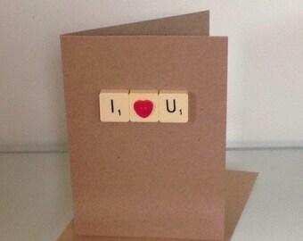 Handmade Scrabble Tile Valentines Card