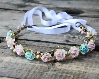 Pink Floral Crown, Pink and Gold Rose Flower Crown, bridal crown, Flower girl flower crown, bridesmaid headpiece