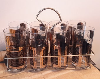Vintage Highball Glass Set Complete With Carrier