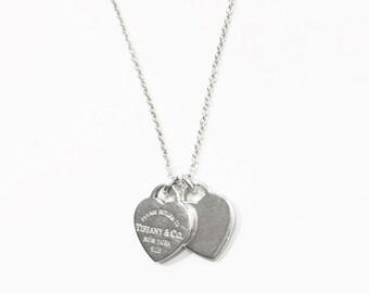 """Tiffany & Co. """"Return to Tiffany"""" Mini Double Heart Necklace *"""