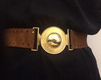 Adjustable Brown Suede Belt With Golden Buckle