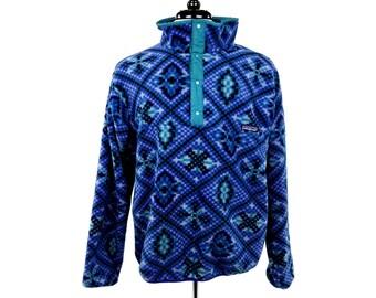 Vintage Patagonia Blue Aztek Patterned Quarter Button Fleece Coat Jacket Extra Large XL