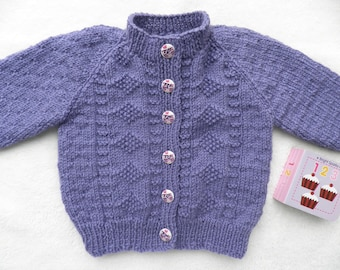 Purple baby cardigan, owl buttons, handknitted jumper, 6 - 12 months, baby sweater, girl's cardigan, girl's clothes, baby gift, baby present
