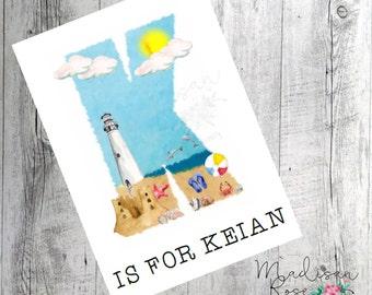Beach scene initial K, graphic illustration art print, wall art, poster, dolphins, sand, ocean, lighthouse, summer