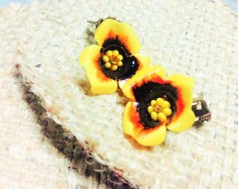 VINTAGE:70's  Sunburst Flower Earrings.{D1-117#00321}