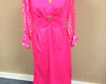 VINTAGE: Fortrel Vintage Dress / Hot Pink Dress/