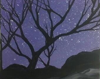 "Sale!!! Purple sky. ...6""x6"" acrylic on flat board canvas"