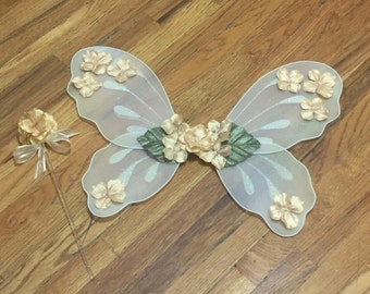 Fairy Wings Gold fairy wings and wand Fairy costumes for kids Gold fairy costume Fairy wings costume Baby girl fairy costumes Angel wings